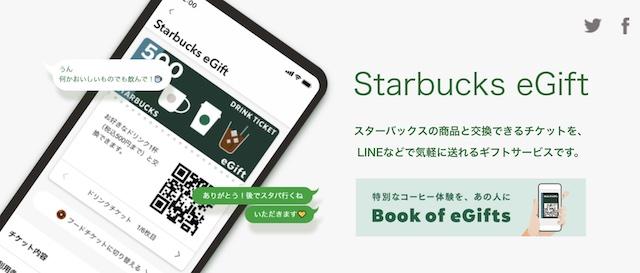 スターバックスコーヒー、egift、オンラインギフト